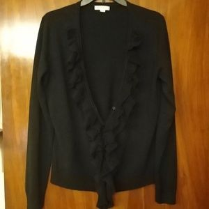 NY&CO blk cardi with classy, ruffles along buttons